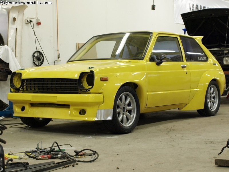 KP60 Starlet trd N1 body kit without front parts. TRD N1-levikkeiden kopiot.